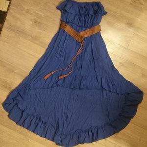 Annebell Blue Strapless Ruffle Dress